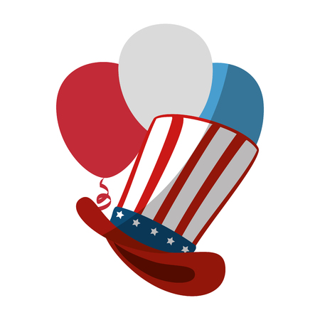 top hat with usa country flag icon over white background colorful design vector illustration Ilustrace