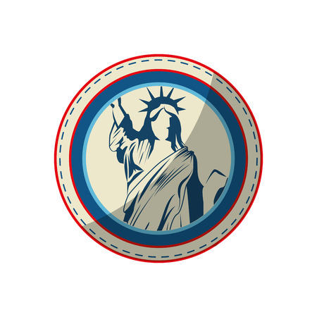 button with liberty statue icon over white background vector illustration Çizim