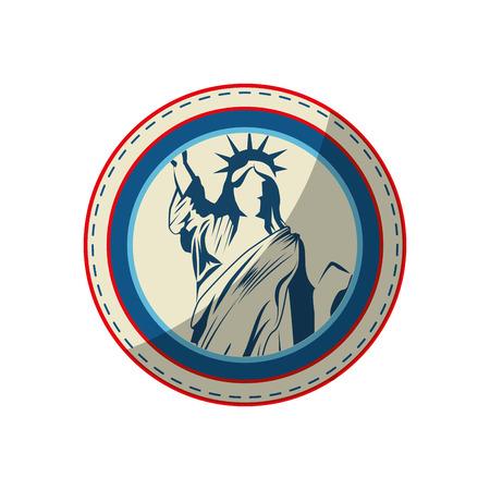 knop met vrijheid standbeeld pictogram op witte achtergrond vector illustratie