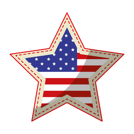 usa country flag in star shape icon over white background vector illustration
