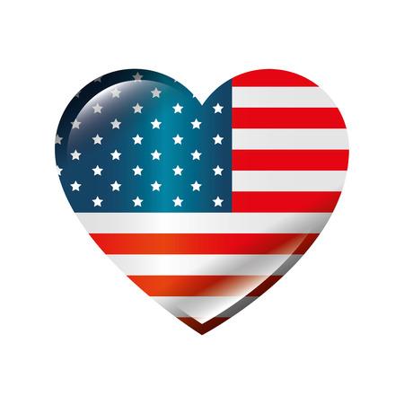 미국 흰색 배경 위에 심장 모양 아이콘에서 국가 플래그 화려한 디자인 벡터 일러스트 레이 션 일러스트