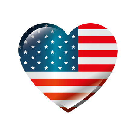 usa country flag in heart shape icon over white background colorful design vector illustration