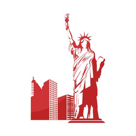vrijheid standbeeld pictogram over witte achtergrond vectorillustratie