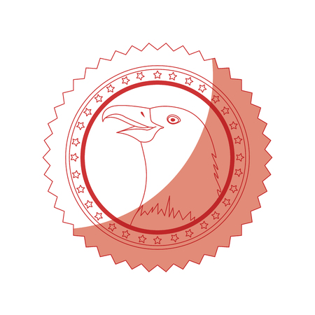 seal stamp with eagle icon over white background vector illustration