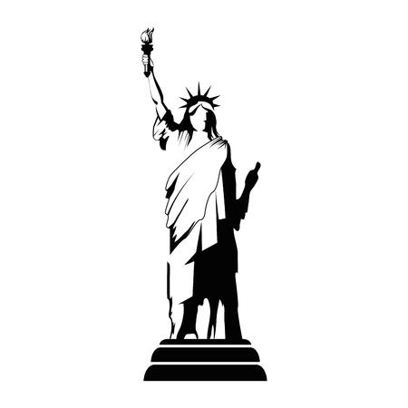 흰색 배경 벡터 일러스트 레이 션 자유의여 신상 동상 아이콘