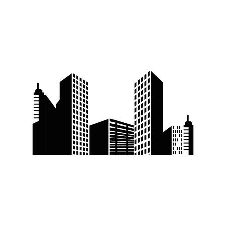 city buildings icon over white background vector illustration Çizim
