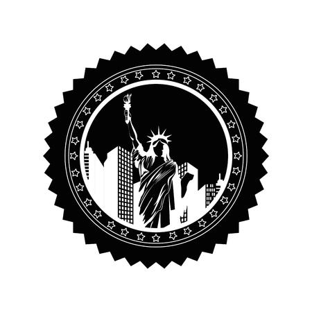 Knop met vrijheid standbeeld pictogram op witte achtergrond vector illustratie Stockfoto - 81066397