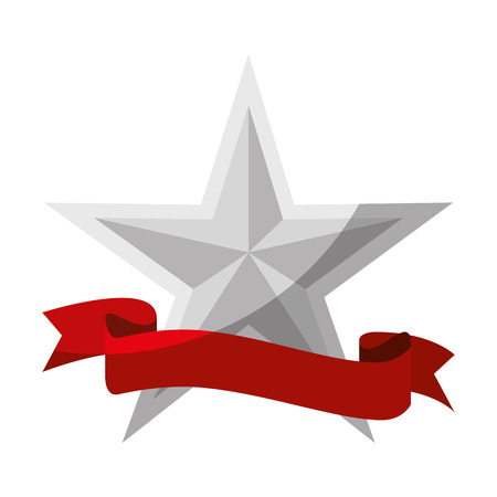 star with decorative ribbon icon over white background vector illustration Illustration