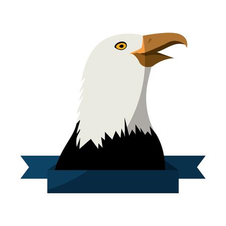 decorative ribbon with eagle icon over white background colorful design vector illustration