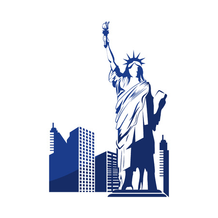 silhouette of liberty statue and city buildings icon over white background vector illustration
