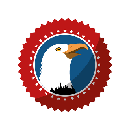 seal stamp with eagle icon over white background colorful design vector illustration Imagens - 81066427