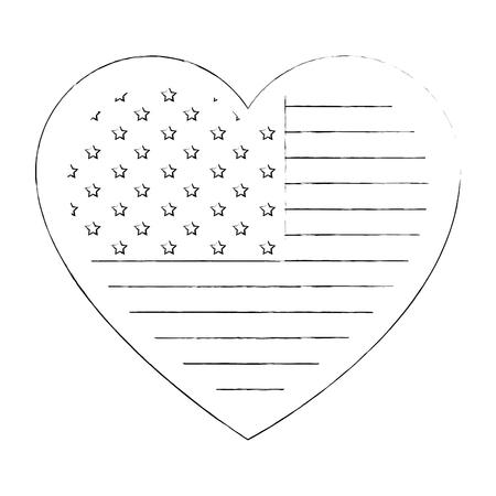 흰색 배경 벡터 일러스트 레이 션을 통해 심장 모양 아이콘에서 미국 국기