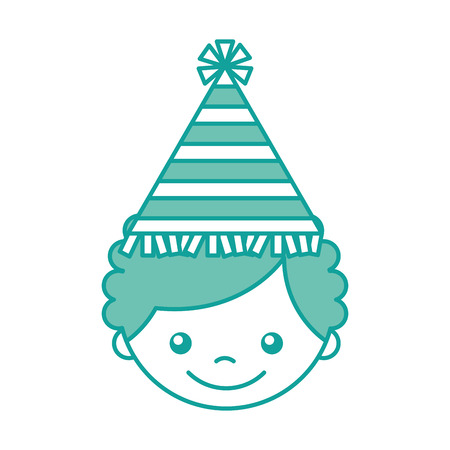 cute boy with party hat character vector illustration design