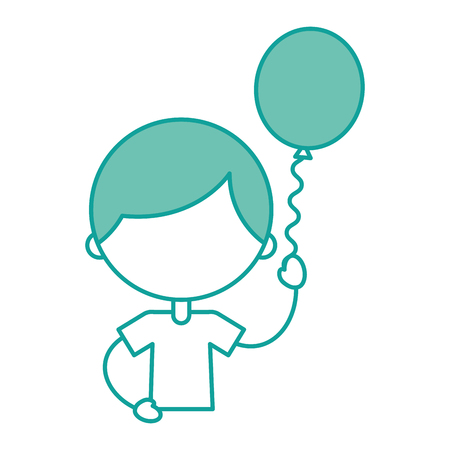 cute boy with balloon air character vector illustration design