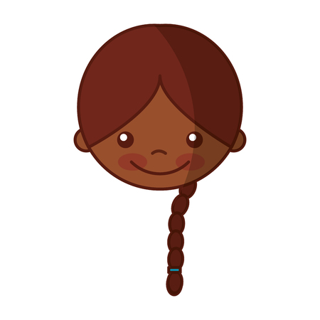 Cute nero ragazza carattere icona illustrazione vettoriale illustrazione Archivio Fotografico - 81077111