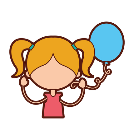 baby facial expressions: cute girl with party balloon character icon vector illustration design