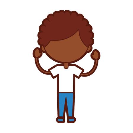Cute ragazzo africano carattere icona illustrazione vettoriale illustrazione Archivio Fotografico - 81077134