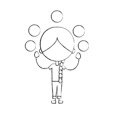 cute girl Juggling balls character icon vector illustration design