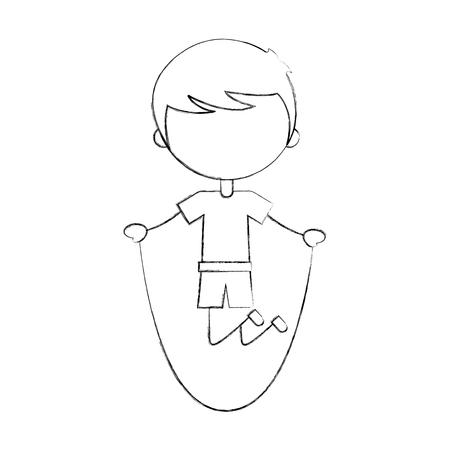 Schattige jongen springen touw karakter pictogram vector illustratie ontwerp Stock Illustratie