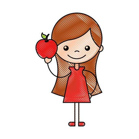 Jolie fille avec apple caractère icône vector illustration design Banque d'images - 81077369