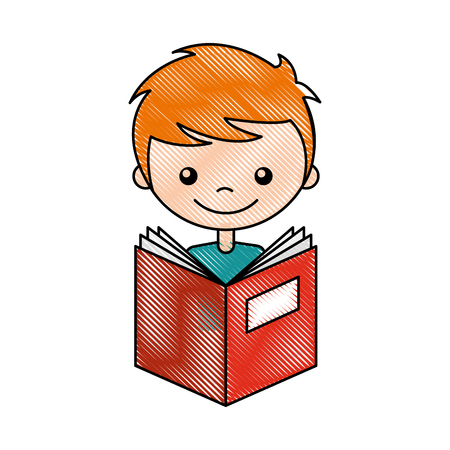 cute boy with book character icon vector illustration design