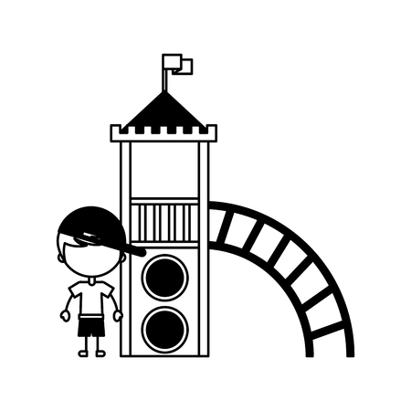 cute boy in childish games character icon vector illustration design