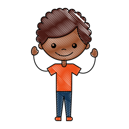 baby facial expressions: cute african boy character icon vector illustration design