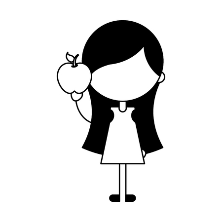 baby facial expressions: cute girl with apple character icon vector illustration design
