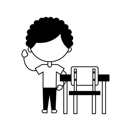 cute african boy with school chair character icon vector illustration design
