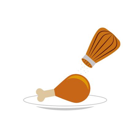 塩シェーカー ベクトル イラスト デザインとおいしい鶏肉