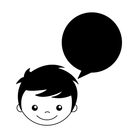 cute boy with speech bubble character vector illustration design Illustration