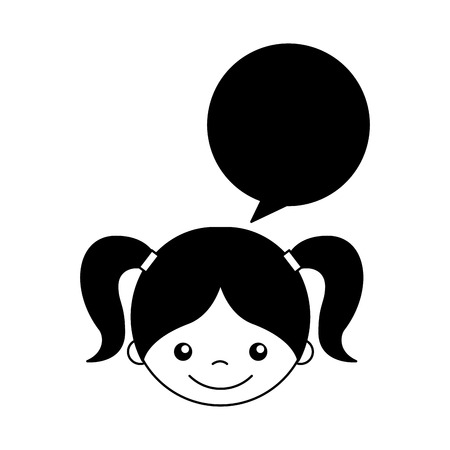 baby facial expressions: cute girl with speech bubble character icon vector illustration design