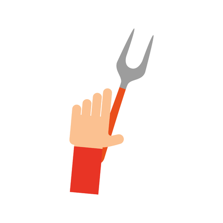 hand human with fork cutlery isolated icon vector illustration design