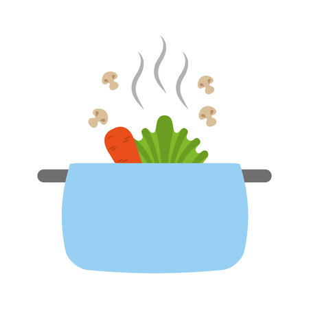 kitchen pot with vegetables icon vector illustration design