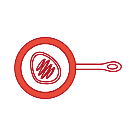 kitchen pan with meat vector illustration design Illustration