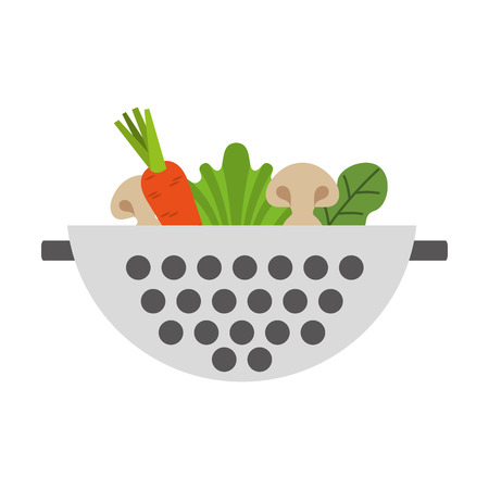 colander: Metal kitchen strainer with vegetables vector illustration design