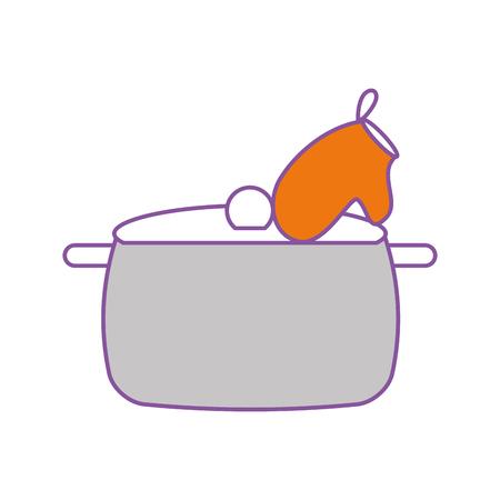 kitchen pot with glove vector illustration design