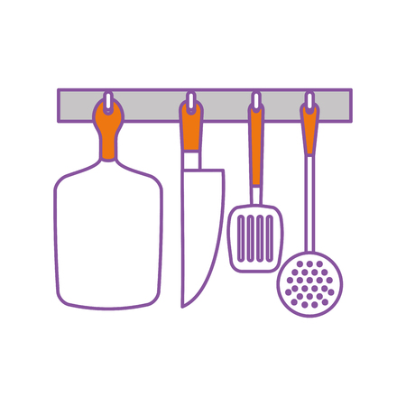 fried: set kitchen cutlery icon vector illustration design