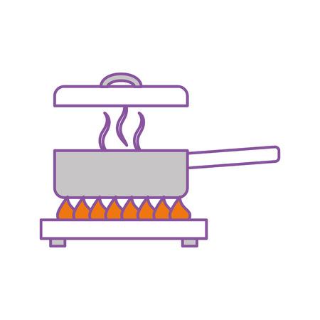 kitchen pot with stove vector illustration design