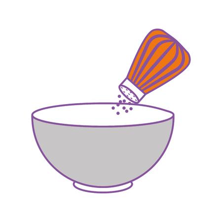 dish with salt shaker isolated icon vector illustration design Illusztráció