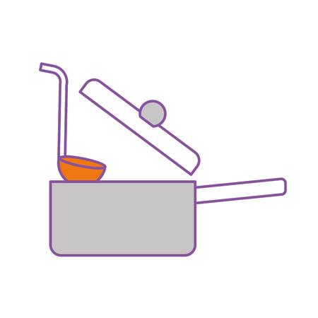 Olla de cocina con cuchara diseño de la ilustración vectorial Foto de archivo - 81104803