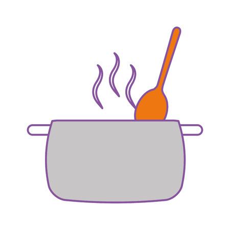 kitchen pot with spoon vector illustration design