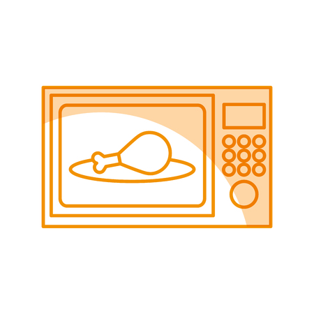 oven microwave with delicious chicken meat icon vector illustration design
