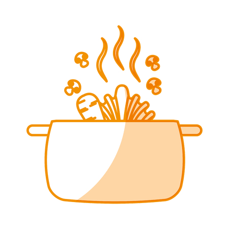 kitchen pot with vegetables isolated icon vector illustration design