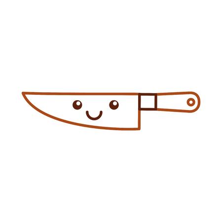 dinning: Kitchen knife cutlery kawaii character vector illustration design. Illustration