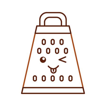 Kitchen grater kawaii character vector illustration design