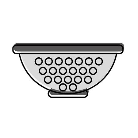금속 부엌 스트레이너 아이콘 벡터 일러스트 디자인