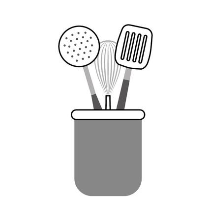 set kitchen cutlery icon vector illustration design