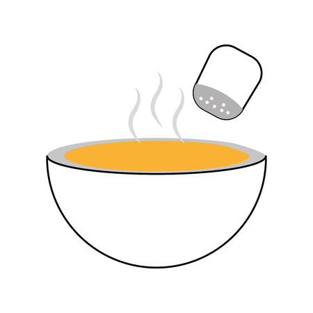 dish with salt shaker isolated icon vector illustration design Illustration