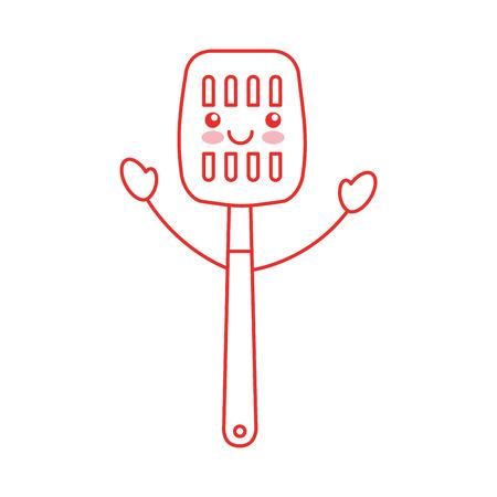 주방 주걱 도구 kawaii 문자 벡터 일러스트 레이션 디자인